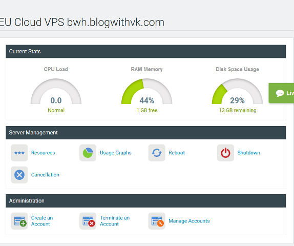 cloud vps control panel