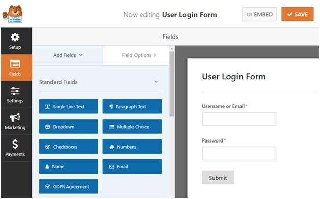 Make a Custom Login Structure with WPForms Module